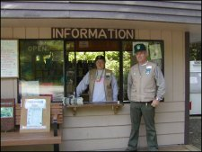 Working the information booth in the Ft. Stevens park campground.