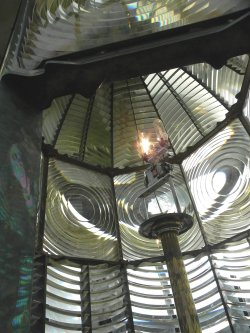Looking up inside of the Heceta lighthouse, fresnel lens.
