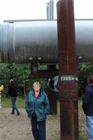 Pam under the Alaska pipeline.