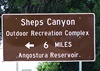 A few miles south of Hot Springs is the sign directing us to Sheps Canyon.