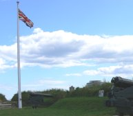 The British flag flies over the fort as it did long ago, in addition to the flag of Canada.