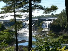 Casudiere Falls are at the entry to the St. Lawrence River.
