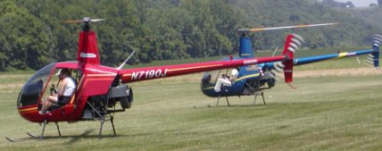 Two Robinson, R-22 helicopters arrive from Louisville for ice cream!