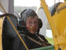 Pam is ready for flight in the 1937 Tiger Moth!