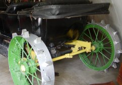 There is a car displayed that was converted to use as a tractor, using a kit that was for sale in those days.