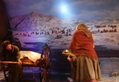 This diorama depicts the mormans who traveled the road as they moved to Salt Lake.