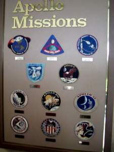 This is a collection of patches worn by the Apollo astronauts.