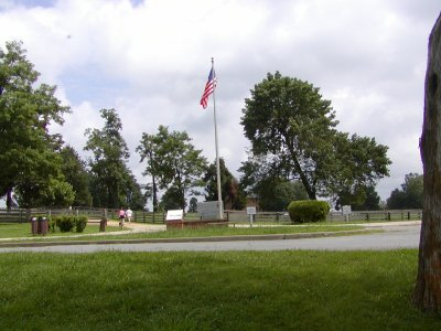 The entry to the historic site seen from the parking area.