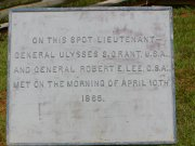 Sign marking the location of the final meeting between Grant & Lee.