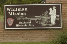 The sign at the gate to the Whitman Mission historic site.