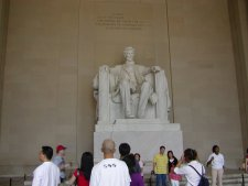 The Abraham Lincoln Memorial. Click the picture to see a view of the memorial from the top of Wash. Monument.