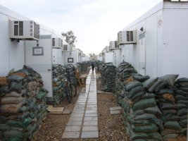 This is a view of the typical housing for our troops stationed in Iraq, when serving with American units.
