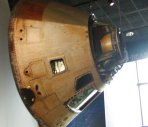 The actual Apollo 13 capsule that was so nearly a disastor for the moon landing program.